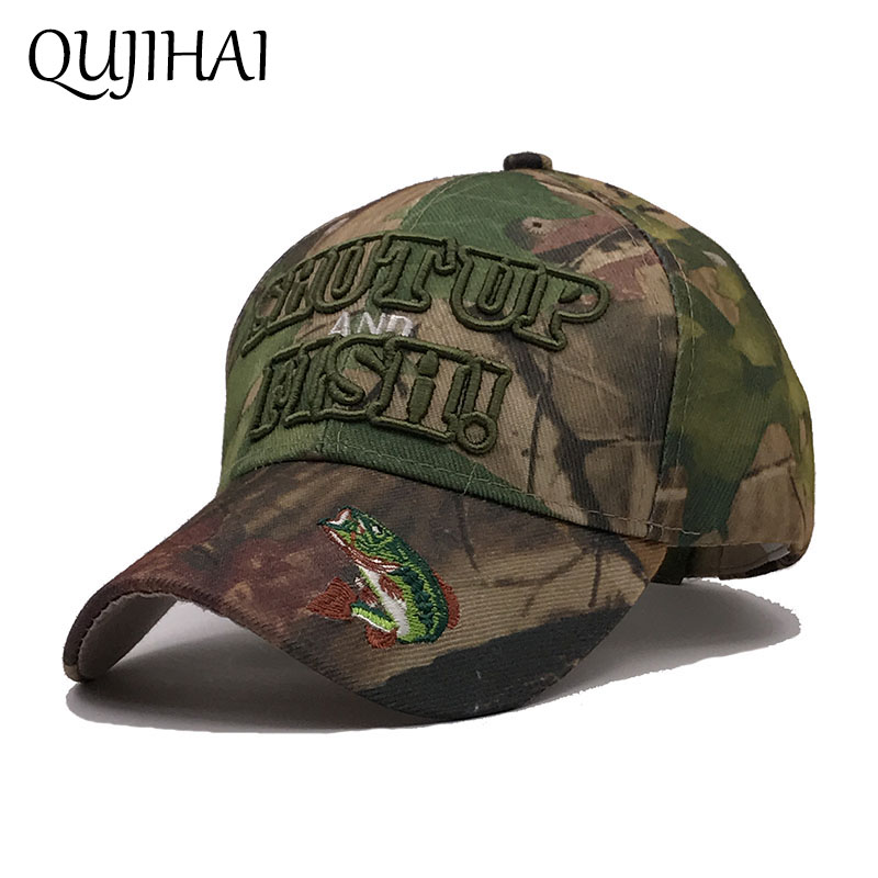 QUJIHAI 2018 Spring Camo Baseball Cap Men Army Camouflage Hat Mens Hunting Fishing Snapback Desert Hat Casquette Bone