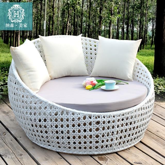 большой круглый диван кровать мебель балкон отдых ротанга лежак