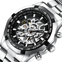 High end Fashion Hollow Watches Men Steel Strap Watch Hollow Watch Automatic Movement Mechanical Watch