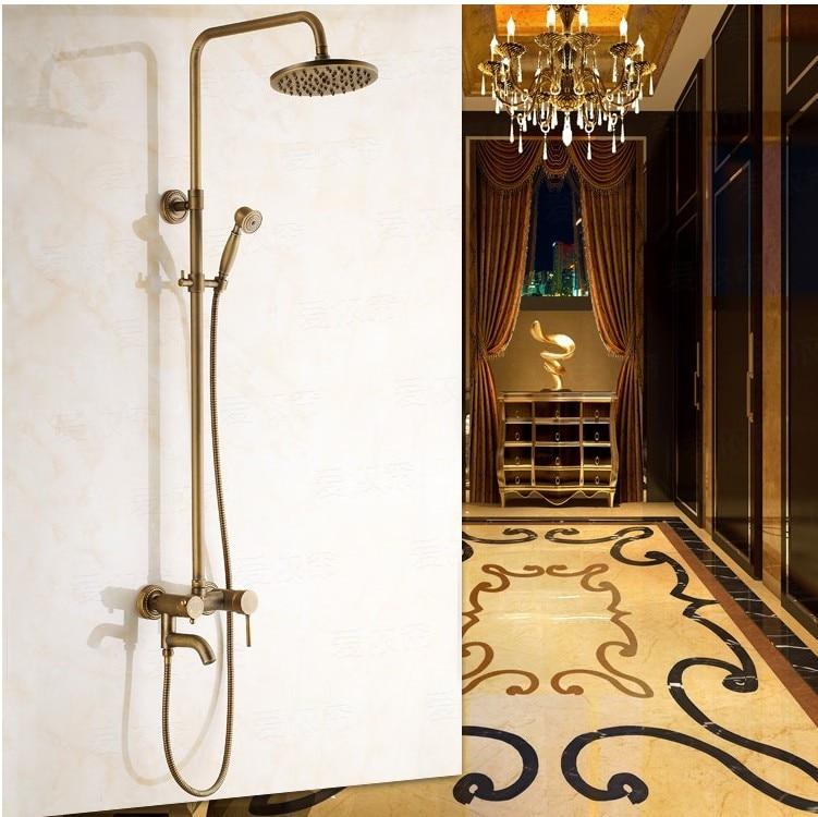 New arrival 2016 Antique Copper Shower Set High Quality Bronze Shower Head /Wall Mounted Bathroom Bathtub Faucet+Handheld Shower copper bathroom shelf basket soap dish copper storage holder silver