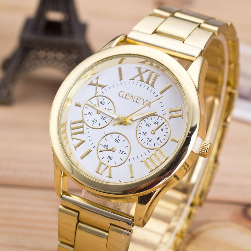 все цены на Fashion Women Watch Roman Numerals Female Clock Stainless Steel Classic Round Dial Gold Quartz Wrist watches Relogio feminino онлайн