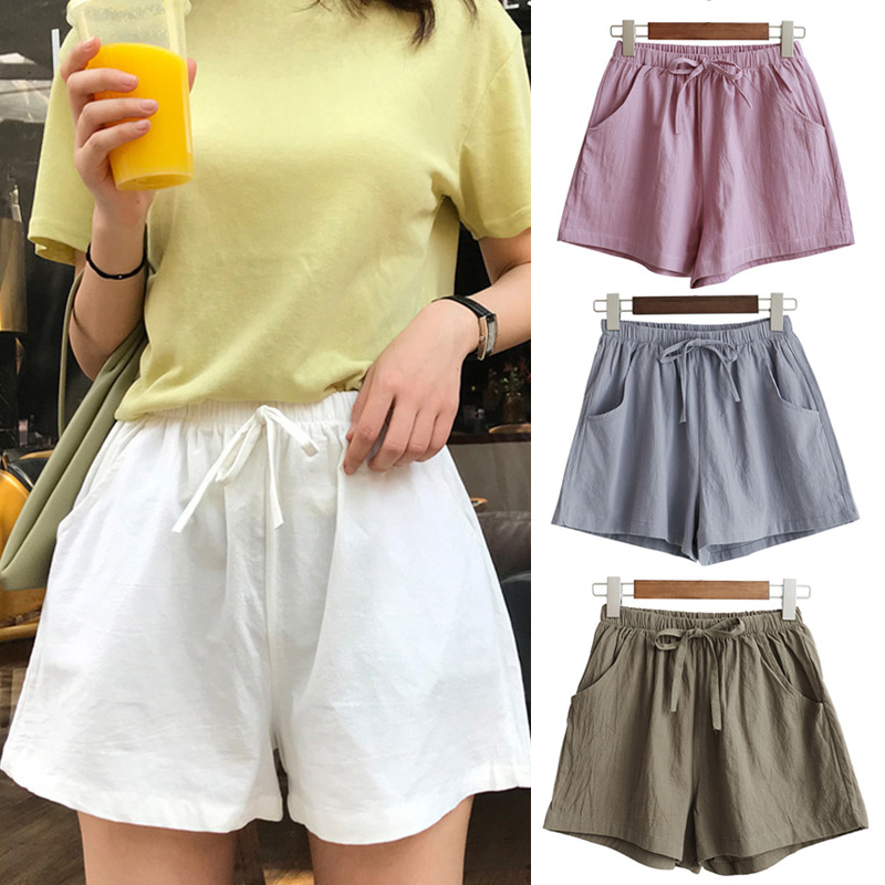 Women High Waist Loose Solid Color   Shorts   Casual for Summer Sport Running Beach New