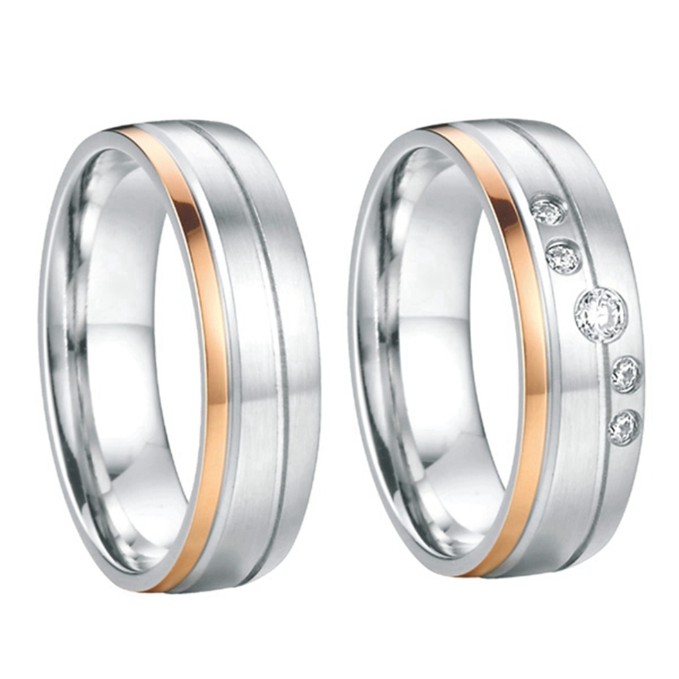 rose gold color jewelry health titanium steel wedding bands engagement couples promise rings sets for men and women 2015