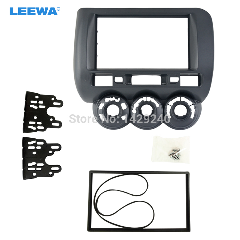 LEEWA car refitting dvd frame/dvd panel for 2006 Honda Fit/Jazz (Aircon Manual for driver in the left) 2DIN  #CA3777 блокада 2 dvd