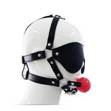 Leather Sex Mask Bondages Harness Restraint Fetish Sex Slave Bondage Gags Red Rubber Ball Harness Erotic