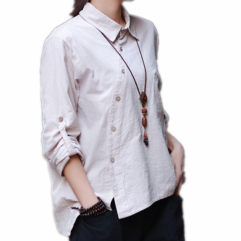 Buy mori style roll up long sleeve shirt for Linen button up shirt womens
