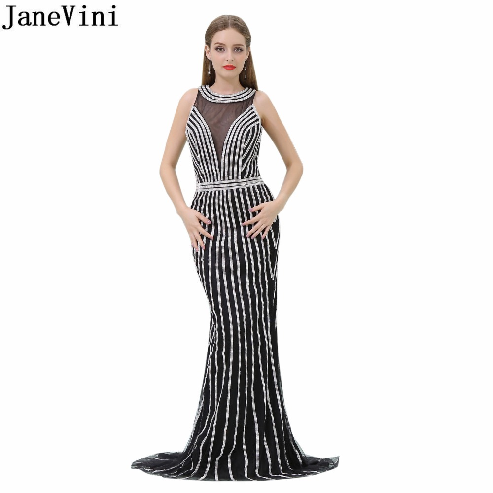 JaneVini Bling Beaded Prom Dress Luxurious Mermaid Bridesmaid Dresses Long Black Backless Tulle Wedding Party Dress Formal Gowns