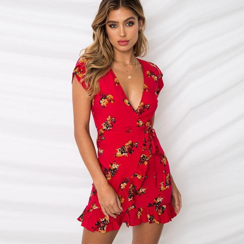 1d4b6190df3 Летнее платье 2018 Для женщин короткий рукав рюшами Обёрточная бумага Бохо пляжное  платье летние сарафаны женские