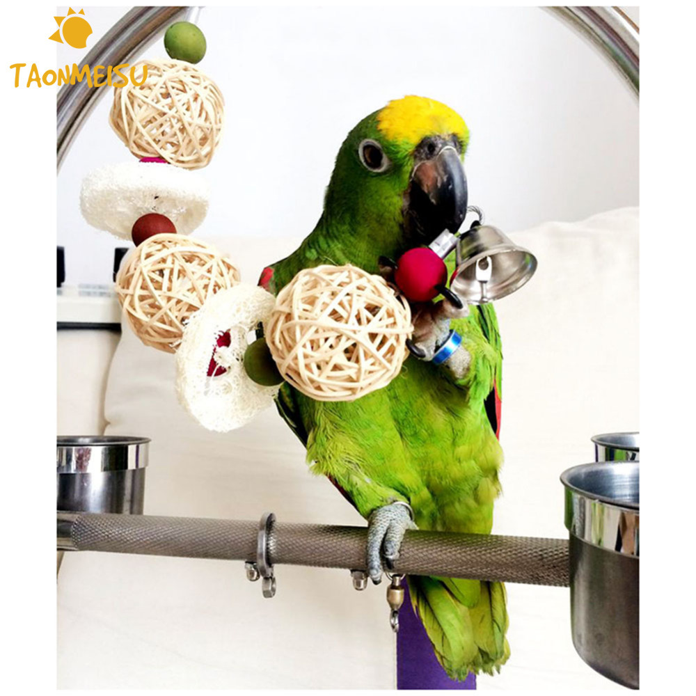 لعب الطيور الببغاء قفص اللعب أقفاص Cockatoo Conure اللوف الإسفنج ألعاب الببغاء اليدوية مع بيل