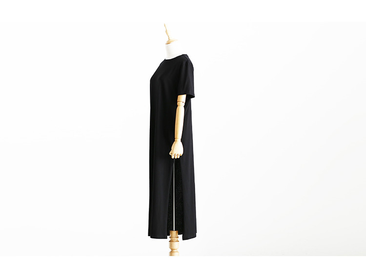 Side High Slit Short Sleeves Black Long T-Shirt Women Dress 4