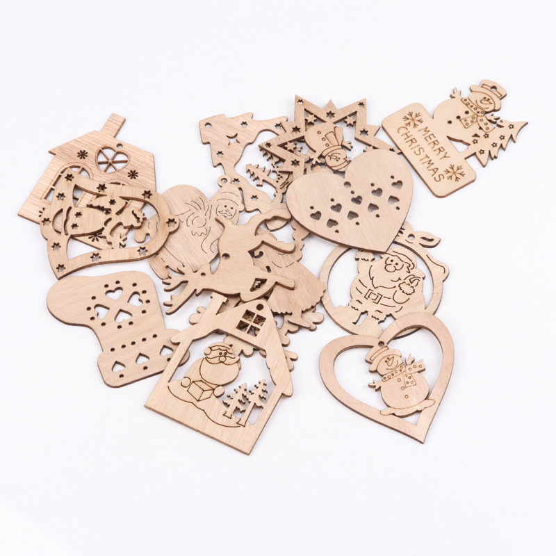 Wooden Christmas Series Pattern Scrapbooking Art Collection Craft For Handmade Sewing Home Decoration 60-90mm 5pcs MZ174