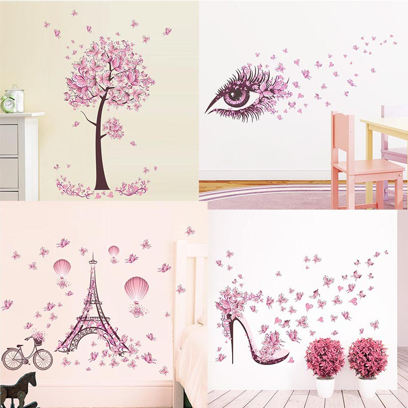 New Pink Butterfly Flower Tree Wall Stickers Decals Girls Women Flower Mural Vinyl Wallpaper Home Living Room Bedroom Decor