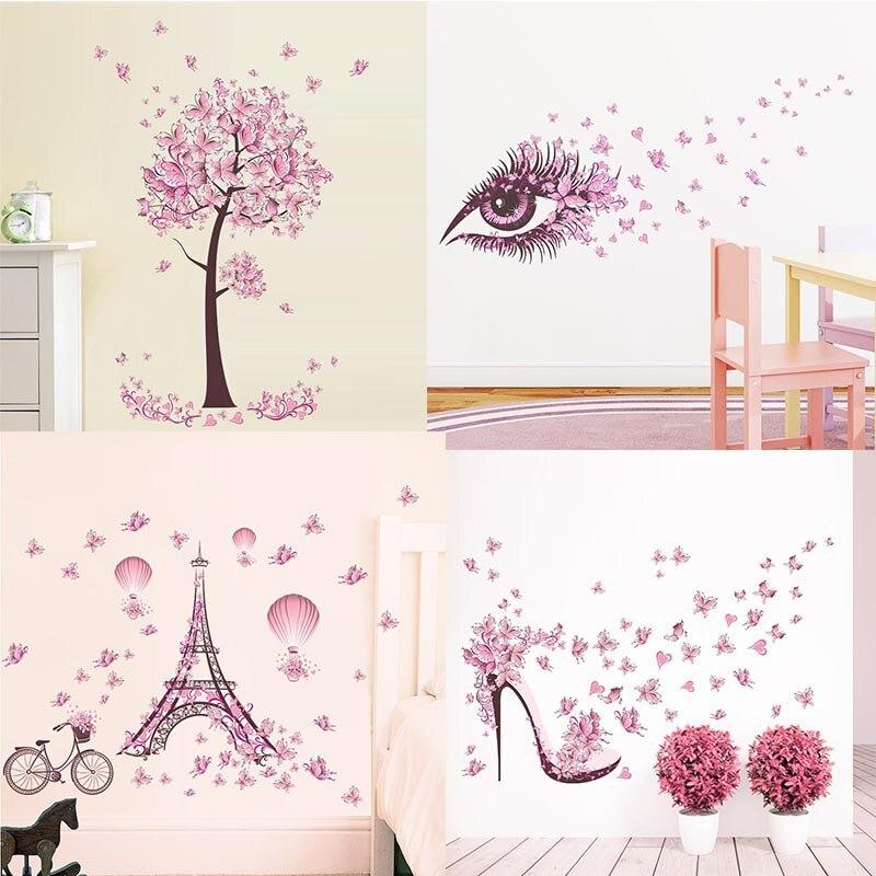 New Pink Butterfly Flower Tree Wall Stickers Decals Girls Women Flower Mural Vinyl Wallpaper Home Living Room Bedroom Decor