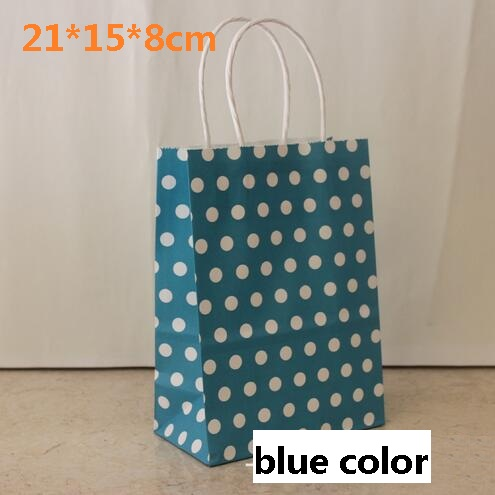 40pcs Lot Blue Color Polka Dot Kraft Paper Gift Bag With Handles