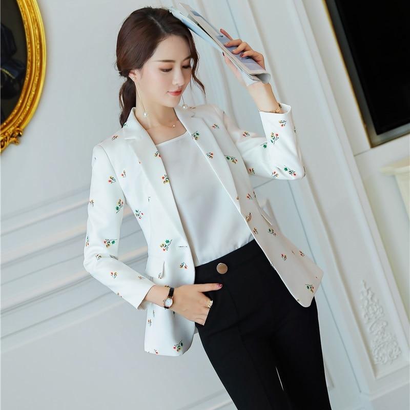 a1f5e6449c Manches Casual Blanc Longues Dames Blazer Imprimer Vêtements D'affaires Styles  Uniforme Bureau Vestes Mode À Femmes 0dq5adwT