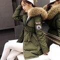 Mulheres inverno exército verde Coats jaqueta grossa Parkas Plus Size gola de pele Outwear algodão com capuz casacos de inverno 6 mulheres cores C1690