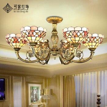 Европейский пасторальный корпус 6 присоска купол свет гостиной столовой освещение светильники в средиземноморском стиле