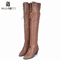 Prova Perfetto 2018 Top Sale Cow Leather Lace up Retro Over the knee Boots Fashionable Large Size Black Long Boots Keep Warm