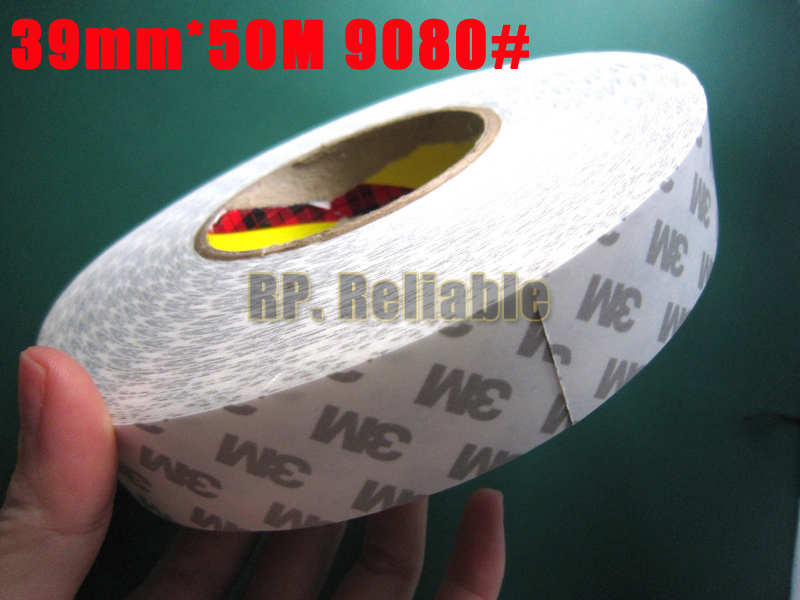 1x 39mm *50M 3M9080 Widely Using Double Sided Coated Adhesive Non-woven Tape for Electrical Industry Panel Screen Nameplate Bond 1x 42mm 50m 3m9080 widely using 2 sides adhesive tape for dvd tv pda auto front panel screen led strip joint