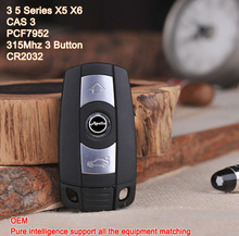 3 Button Smart Key For BMW 3 5 series X5 X6 With PCF7952 Chip 315 Mhz Car Alarm Keyless Entry Fob (CAS 3 System)