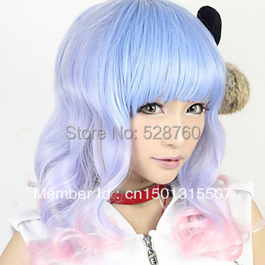 Lolita Wave Wig Inspired by Blue and Pink Mixed Color 55cm Sweet  Free shipping