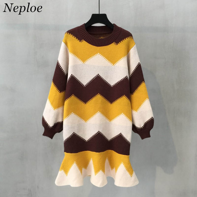 Neploe Sweater Dress For Women 2019 Autumn Winter Long Sleeve Contrast Color Knit Pullover Fashion Ruffles Long Sweaters 36736