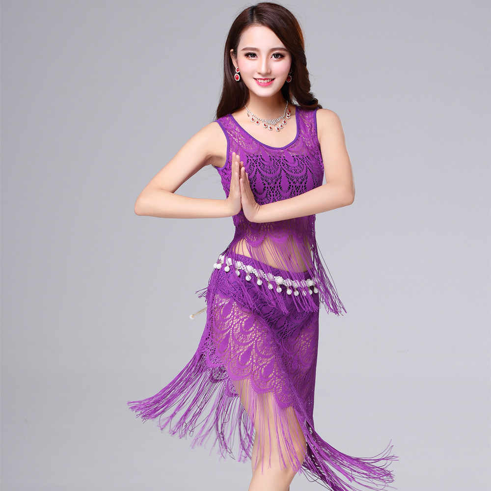 Sexy Belly Dancing Lace Dress Belly Dance Costumes Top Skirt Belt  Bellydance Set for Women Adult Oriental Yoga Bollywood Tassels