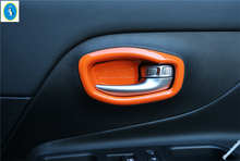 Colorfully For Jeep Renegade 2015 2016 2017 ABS Inner Handle Bowel Frame Cover Trim 4 Pcs