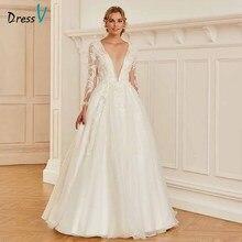 Dressv v шеи элегантные кружева Кнопка свадебное платье с длинными рукавами длиной до пола свадебное уличное и венчальное свадебное платье