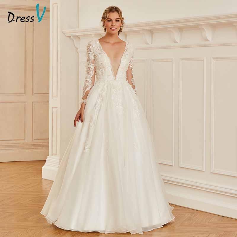Dressv v neck elegant appliques lace button wedding dress long sleeves floor length bridal outdoor&church wedding dresses