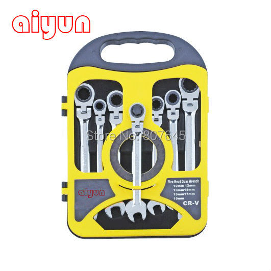 7PCS/set Chrome Vanadium flexible ratchet wrench set, spanner set CRV grear wrench chrome vanadium steel tip of the tail tip wrench ratchet wrench 22 24 fast ratchet spanner tools
