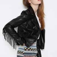 Hot Sale New Fashion Women Short jacket DesignMotorcycle Coat Slim Tassel Leather Jacket Women black coats street style bomber