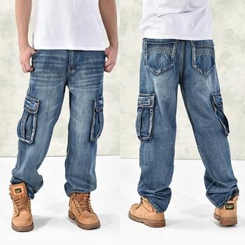 HOT New 2019 Large Size 30-44 46 Jeans Fashion Loose Big Pockets Hip-Hop Skateboard Casual Men Denim Blue & Black Design Brand 1