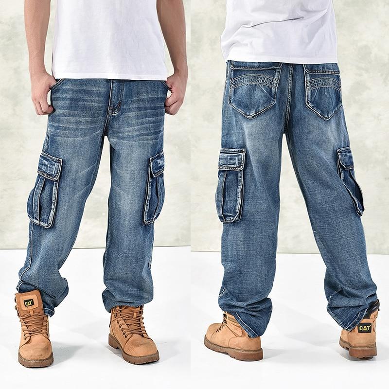 HOT New 2019 Large Size 30-44 46 Jeans Fashion Loose Big Pockets Hip-Hop Skateboard Casual Men Denim Blue & Black Design Brand