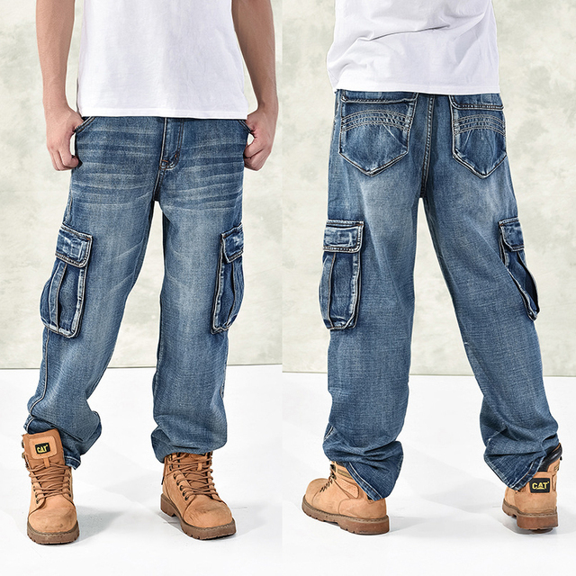 HOT New 2019 Large Size 30-44 46 Jeans Fashion Loose Big Pockets Hip-Hop Skateboard Casual Men Denim Blue & Black Design Brand 1