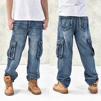 HOT New 2019 Large Size 30 44 46 Jeans Fashion Loose Big Pockets Hip Hop Skateboard Casual Men Denim Blue & Black Design Brand