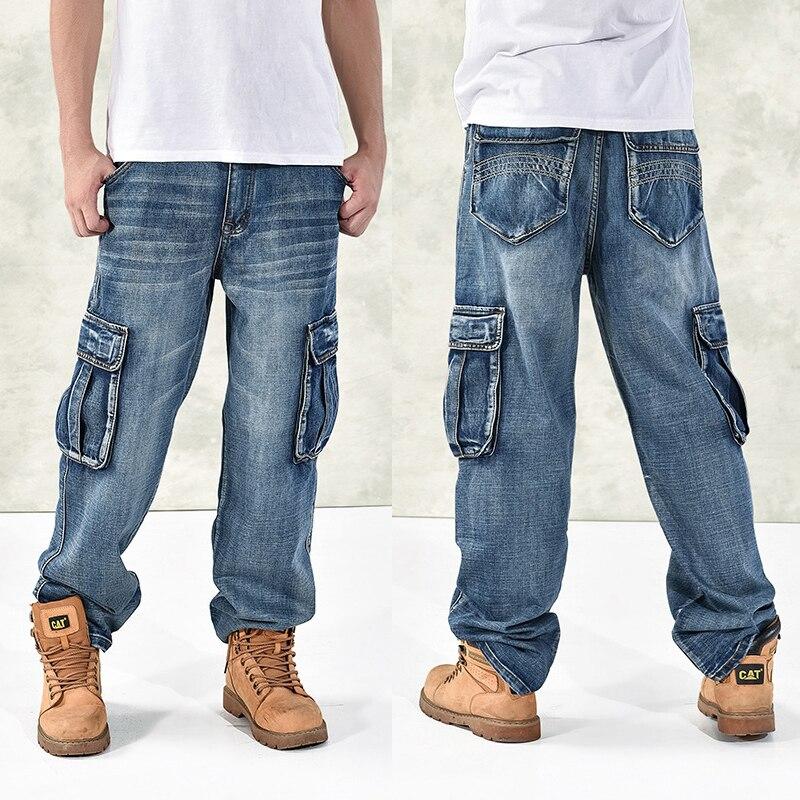 HOT Nuovo 2018 di Grandi Dimensioni 30-44 46 Jeans di Modo Allentato Grandi Tasche Hip-Hop di Skateboard Casual Degli Uomini Del Denim Blu e nero di Disegno di Marca
