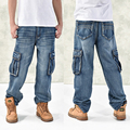 hot new large size jeans fashion loose Big pockets hip-hop casual men jeans wide leg