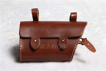 Vintage old bicycle Vintage Bicycle Bag beam packet pure hand-sewn leather tool bag phone package