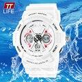 TTLIFE Hombres Reloj Deportivo Resistente Al Agua 50 m Ejército Militar Mujeres de Goma LED Electrónico Relojes de Pulsera Señoras Blanco