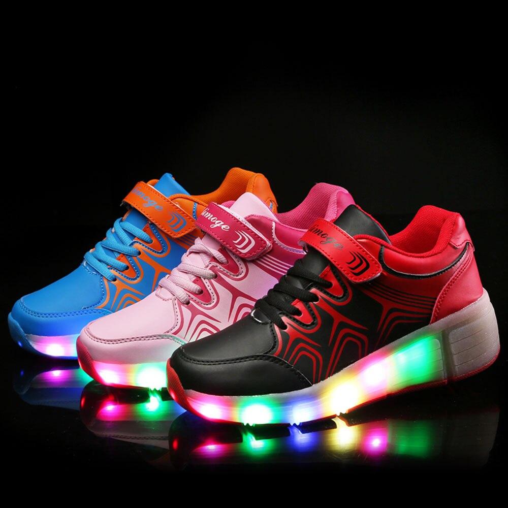 4e3fa0541c506 Nouveaux enfants Heelys chaussures avec Led se allume enfants chaussures à  roulettes avec roues pour garçons filles Sneakers Zapatillas Con Ruedas  dans ...