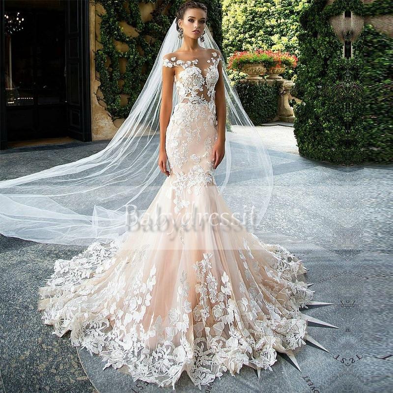 Cap sleeve sheer see through boat neck vintage long for Boat neck long sleeve wedding dress
