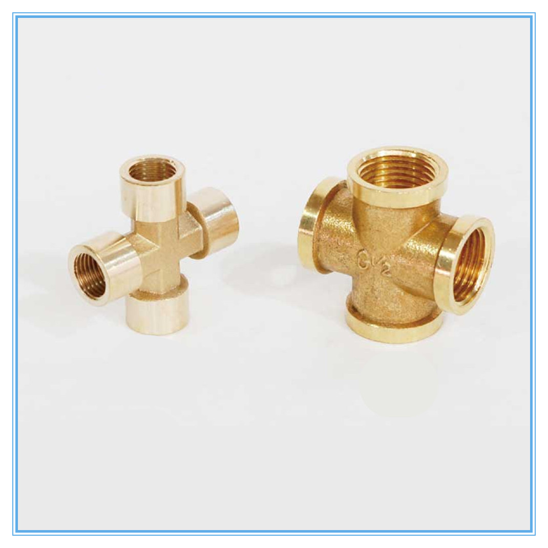 1pcs Brass Pipe Fitting 4 Way Connector Cross 1/4