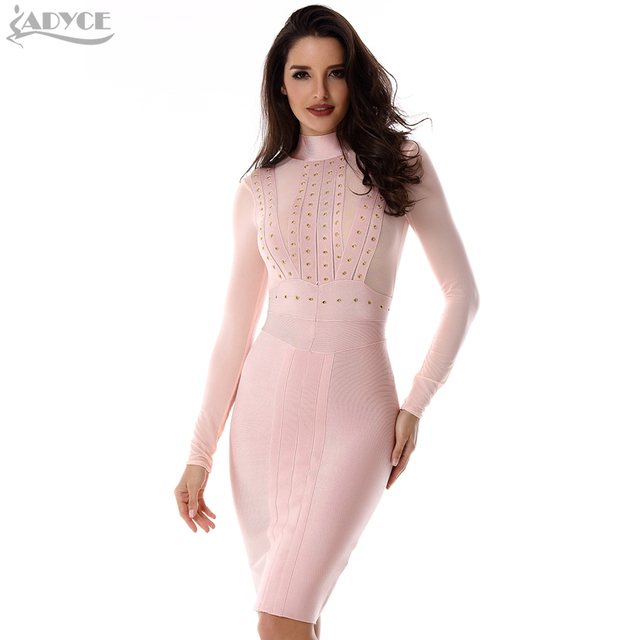 2018 New Summer Dress Women Runway Party Dress Black Beige Long Sleeves  Modern Chic Bodycon Celebrity Pencil Midi Bandage Dress 20eb5a46a505