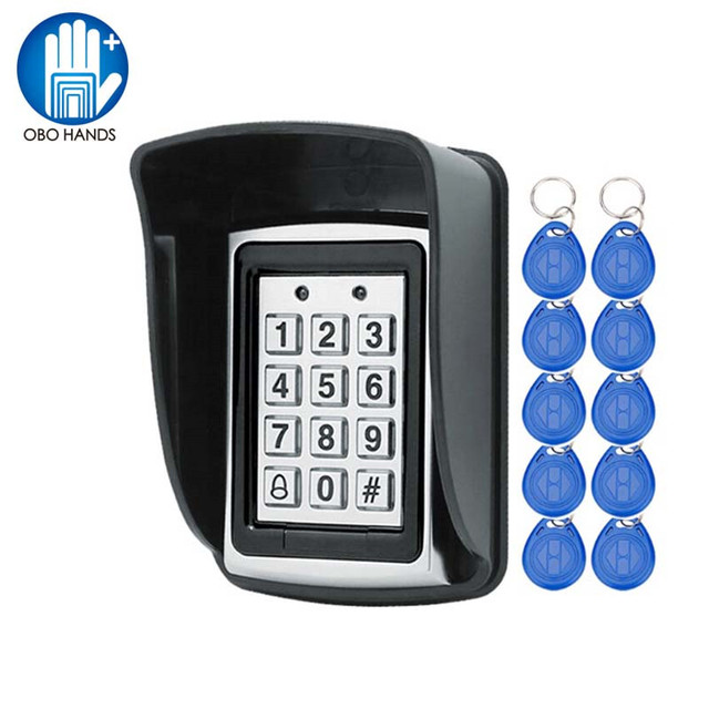 RFID in metallo Tastiera di Controllo di Accesso 125 KHz Controller di Accesso Autonomo con Impermeabile Della Copertura di Caso Della protezione + 10 pcs Portachiavi RFID Carte