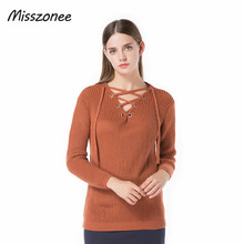Misszonee  Autumn onesize Lace Up Sweaters Pullovers Women Winter Bandage Solid Knitted Basic Sweater Feminine Outwear 2017 New