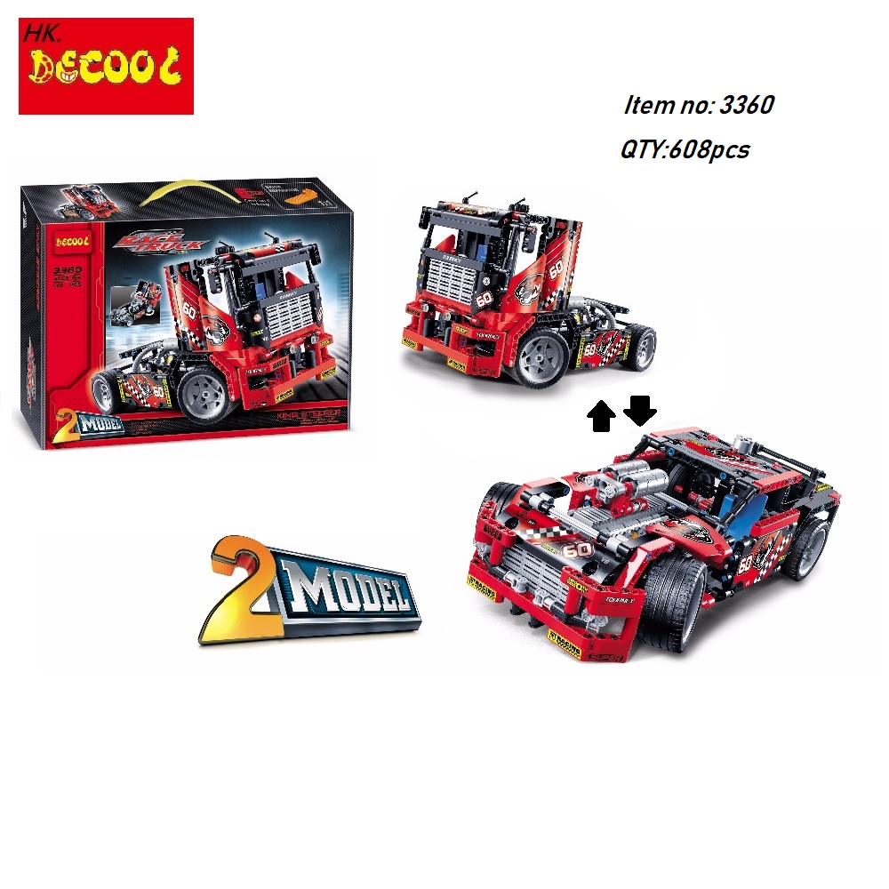 1/2 Decool bricks 3360 608pcs Race Truck Car Transformable Model Building Block Sets DIY for LEGO movie for lepin Technic 42041 608pcs race truck car 2 in 1 transformable model building block sets decool 3360 diy toys compatible with 42041