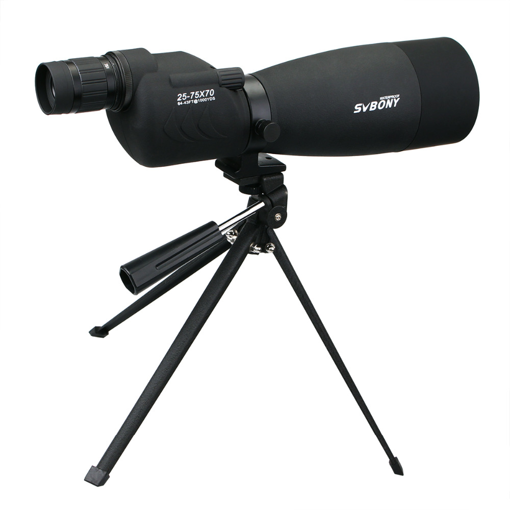 Image 2 - SVBONY Zoom 25 75x70mm SV17 Spotting Scope Waterproof Straight 180 De Telescope + Tripod +Adapter for Birdwatching Archery F9326-in Spotting Scopes from Sports & Entertainment