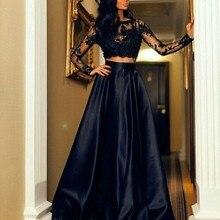 Черное платье с длинными рукавами 2 два предмета кружева атласное платье для матери невесты Длинные Аппликации прозрачные вечерние платья vestido de festa