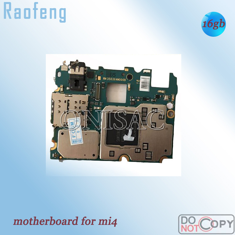 Raofeng Well test before to ship  motherboard For Xiaomi Mi4 M4 mainboard 16GB WCDMA 3G Disassembled  with chip Logic Board(China)